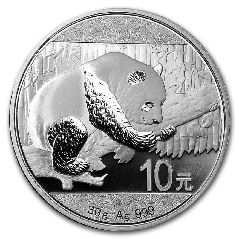 Sheet of 15-2019 China 30 Gram .999 Fine 10 Yuan Silver Panda Coin in Capsule
