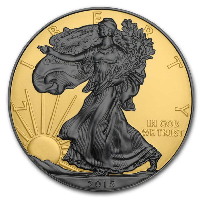 Silver American Eagle Ruthenium Plated And 24k Gold Gilded