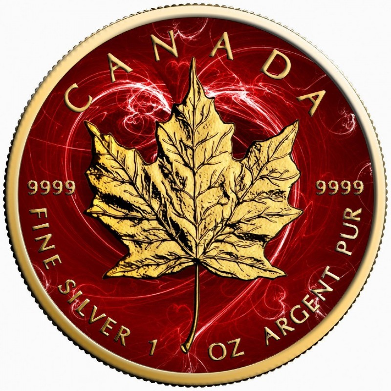 Canada Silver Maple Leaf Coin Passion Red Colorized And