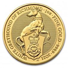 2021 Great Britain 1 oz Gold Queen's Beasts White Greyhound of Richmond Coin BU