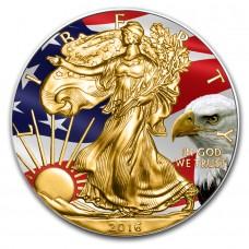 999 Silver Coin Flag Colorized and Gold Gilded American Eagle 1 USD 1 oz coin +Box, CoA