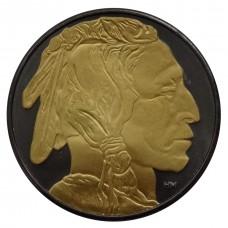 1oz 999 Silver American Buffalo Ruthenium coin 24k Gold Gilded Both Sides