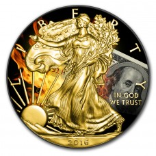 Silver American Eagle Burning Dollar Coin Ruthenium and Gold Gilded