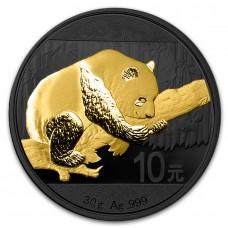 2016  Silver China Panda, Ruthenium and Gold Gilded