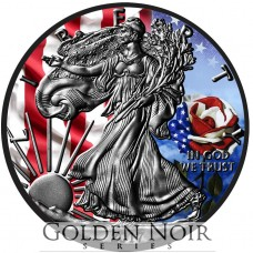 Silver American Eagle, Flag & Rose Design, Colorized and Ruthenium Gilded Coin by Golden Noir Series.