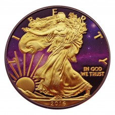 1 USD Silver American Eagle Ruthenium plated, Colorized and Gold Gilded Universe 1 oz 999 Silver Coin