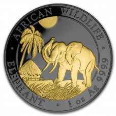 Silver Coin Somalia Elephant 2017 by Golden Noir Series Ruthenium Plated and Gold Gilded 1 oz