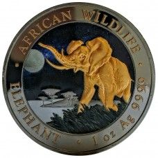 1 oz Silver Somalia Elephant 2016 Ruthenium Gold Gilded and Colorized Night Coin