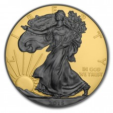 1oz 999 Silver American Eagle Double Sided Ruthenium and Gold Gilded Coin