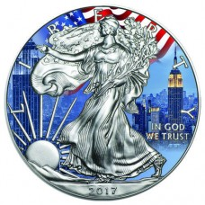 2017 Silver American Eagle New York City Colorized Coin whit Patriotic US Flag
