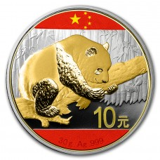 10 CNY 30 g Silver Chinese Flag Panda 2016 Gold Gilded and Colored China Flag  with Case and CoA