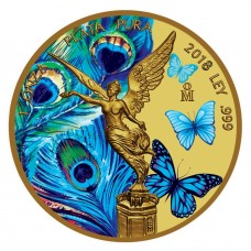 1oz Silver Mexican Libertad Coin - Peacock and Butterflies