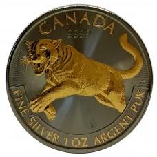 1oz Canada Silver Predator Series Cougar Puma Ruthenium and Gold plated Coin 2016