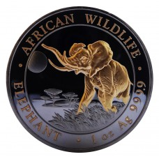 1 oz 9999 Silver Somalia Elephant 2016 Ruthenium plated and Gold Gilded Coin