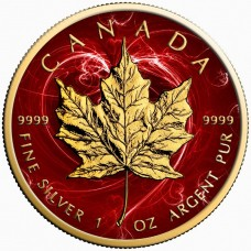 2017 Canada Silver Maple Leaf Coin, Passion Red,  Colorized and Gold Gilded Golden Noir
