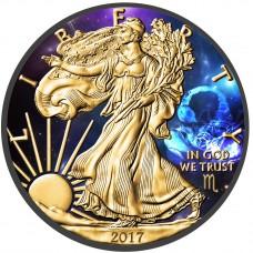 American Silver Eagle Zodiac Scorpio Coin Colorized, Gold Gilded & Ruthenium plated
