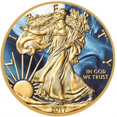 LAST ONE! Silver American Eagle 2017 Coin Gold Gilded and Colorized Magic Blue