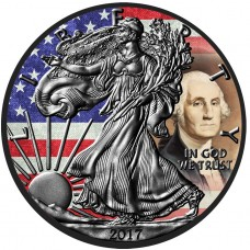 George Washington American Eagle Silver Coin, US Flag Colorized and Ruthenium Plated Coin