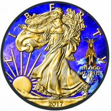 Capricorn Zodiac American Eagle , Colored and Gold Gilded Silver Coin