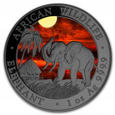 2017 1 oz Silver Somali Elephant Sunset Coin, Colored and Ruthenium Plated