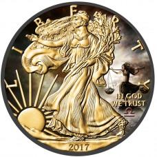American Silver Eagle Zodiac Series Libra Coin Colorized,Gold & Ruthenium plated