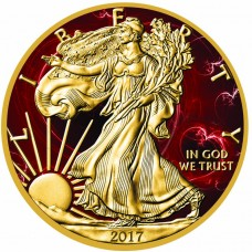 American Silver Eagle Red Passion Colorized & Gold Gilded