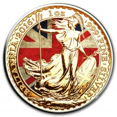LAST ONE! UK Flag Colorized and Gold Gilded Britannia Coin