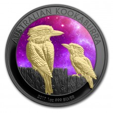 2017 Silver Kookaburra Universe Colorized, Ruthenium plated and Gold Gilded Coin