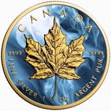 LAST ONE! COA No 002/500 2017 Canada Silver Maple Leaf Coin, Blue Magic, Colorized and Gold Gilded.