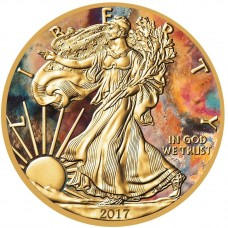 Silver American Eagle 2017 Coin, Gold Gilded and Colorized Aquarelle