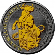 2Oz The Queen's Beasts 2018 – Black Bull  - Ruthenium and Gold Gilded Coin
