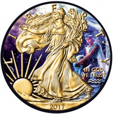 Zodiac Aquarius, American Silver Eagle , Colorized, Gold & Ruthenium Gilded Silver Coin