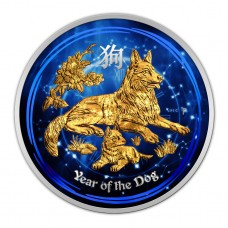 2018 Lunar Year of the Dog 1/2 oz Silver Australia Coin Colorized and 24K Gold Gilded
