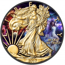 LAST ONE! American Silver Eagle Zodiac Series Virgo Coin Colorized,Gold & Ruthenium plated