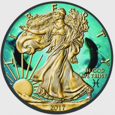 American Silver Eagle Coin Zodiac Pisces, Colorized, Gold & Ruthenium Plated Coin