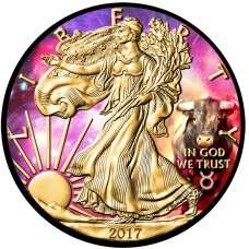 2018 American Silver Eagle Zodiac Taurus Colorized, Gold Gilded and Ruthenium Plated Coin