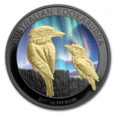 2017 Silver Kookaburra Southern Lights Colorized, Ruthenium and Gold Gilded Coin