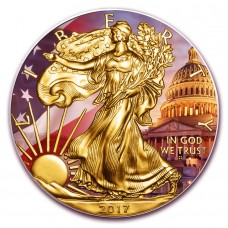 4th of July American Patriotic Eagle, Colorized and Gold Gilded Silver Coin