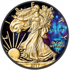 American Silver Eagle Zodiac Series Leo Coin Colorized, Gold & Ruthenium plated coin