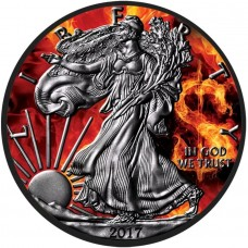 Silver American Burning Dollar Eagle Coin, Colorized & Ruthenium Plated