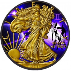 American Silver Eagle Coin - Zodiac Gemini, Colorized, Gold and Ruthenium Gilded.