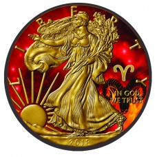 2018 American Silver Eagle Coin-Zodiac Aries, Colorized, Gold and Ruthenium gilded