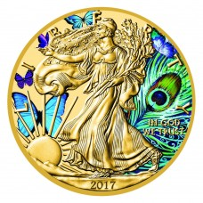 American Silver Eagle PEACOCK - 24K Gold Gilded Coin