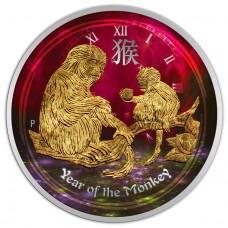 2016 Australia Silver Lunar Monkey 1/2 oz Coin, Colored, Gold Gilded coin