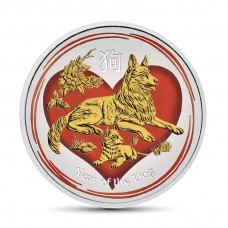 1/2 oz Silver Australia Lunar Year of the Dog in Love Colorized and Gold Gilded Coin