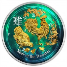 2017 Australia Silver Lunar Rooster 1/2 oz Coin, Colored and Gold Gilded coin