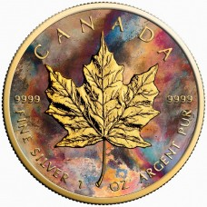 2017 Canada Silver Maple Leaf Aquarelle Coin , Colorized and Gold Gilded Golden Noir