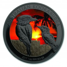 2017 Kookaburra Sunset Colorized ,Ruthenium Plated Silver Coin by Golden Noir series