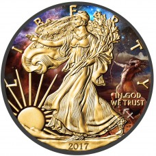 American Silver Eagle Zodiac Sagittarius Coin Colorized, Gold & Ruthenium plated
