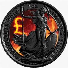 2018 Silver Burning Britannia, Colorized & Ruthenium Plated Coin